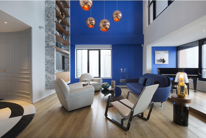 蓝色顶层复式公寓-Thomas Dariel
