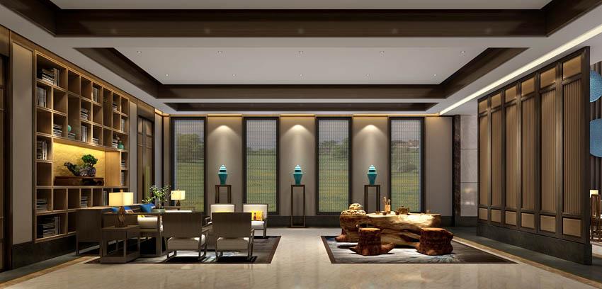 新中式影��k�_水伴花容 万路新中式别墅会所设计方案效果图