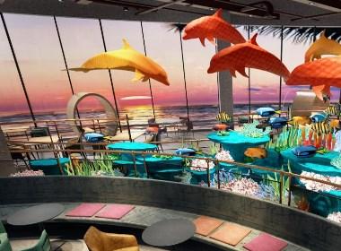 咖啡餐厅设计,青岛红树林儿童海鲜餐厅 1821㎡