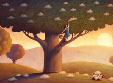摘一朵云尝一口插画欣赏
