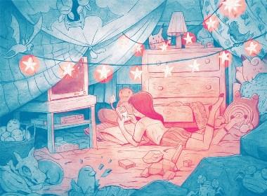 粉蓝色畅想插画欣赏