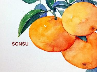 关于水果的一些水彩插画