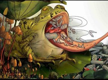 【目击者 1】 插画 环境保护 水污染 青蛙
