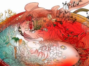 【成都印记/原创】插画  重彩   成都美食文化