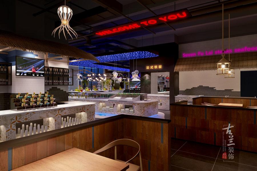 徕牛排海鲜自助餐厅设计案例——成都专业海鲜自助餐厅设计|古兰装饰