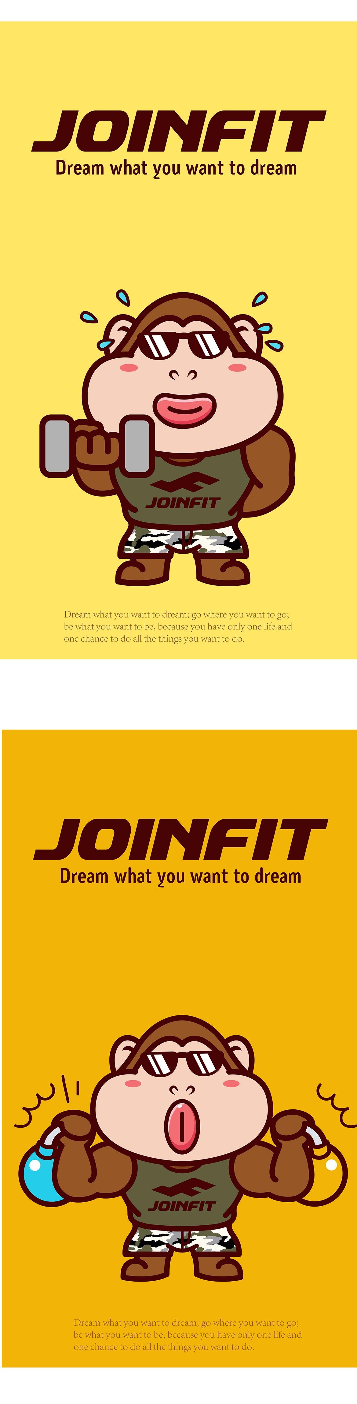 JOINFIT健身器材品牌卡通形象吉祥物设计微信表情gif设计---茁茁猫原创设计