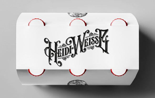 奶白色Heidi Weisse小麦啤酒精美手绘包装设计