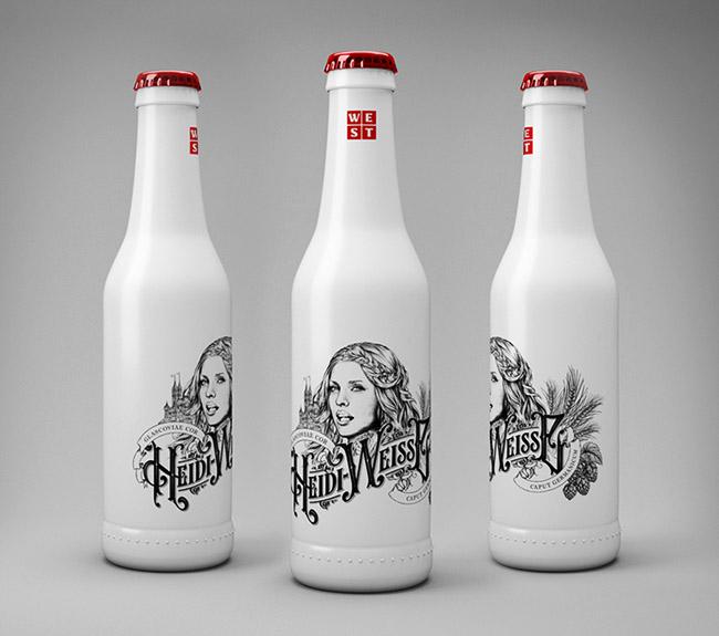 小蝌蚪直播app奶白色Heidi Weisse小麦啤酒精美手绘包装设计
