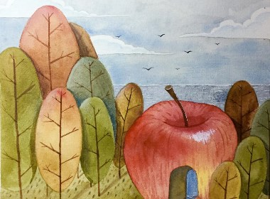 水果主题的几张水彩插画