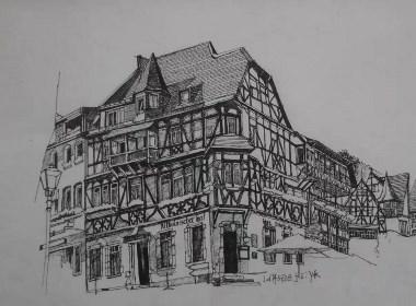 建筑钢笔插画