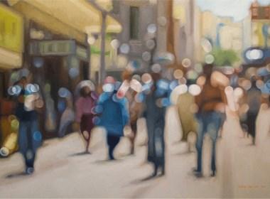 城市朦胧美,仿糊焦照片的油画作品