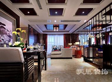 都市佳苑140平新中式风格装修,酒红色很靓