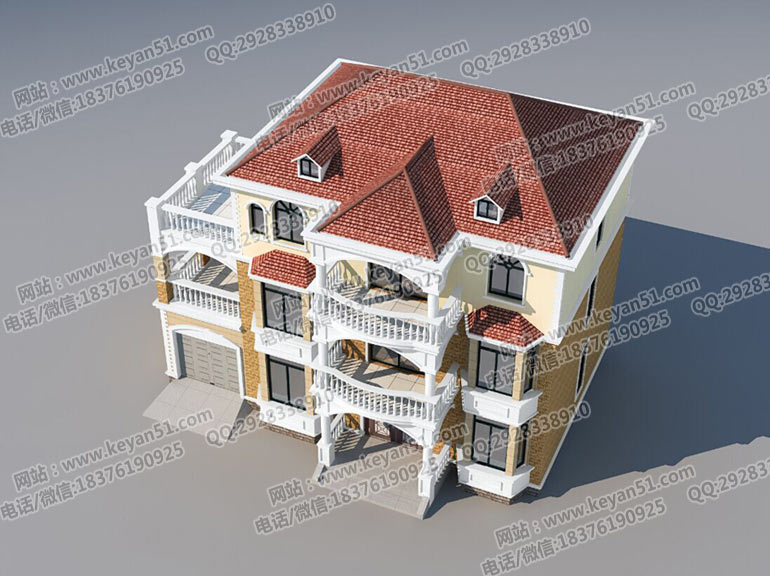 三层农村房屋设计图 农村自建别墅效果图