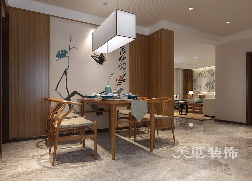联盟新城200平三室两厅新中式装修案例-中国设计网