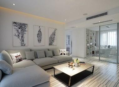 民安城市之光装修,126平三室两厅简约样板间设计