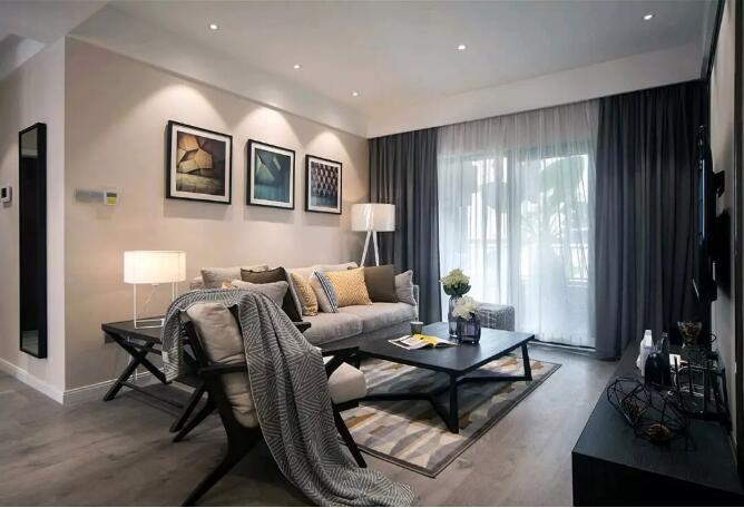 开祥御龙城装修效果图90平现代简约风格三居室设计案例---客厅