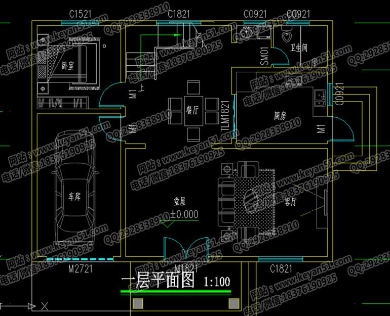 35平方米   设计功能   一 层:堂屋,客厅,餐厅,厨房,卧室,卫生间,车库