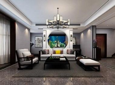 清华大溪地别墅装修300平新中式风格设计案例欣赏