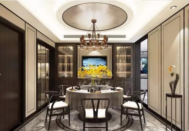 怡丰森林湖300平别墅大宅新中式风格装修效果图---餐厅