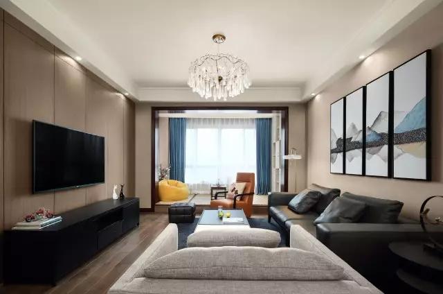 升龙城115平现代简约风格三室两厅装修样板间欣赏---客厅图片