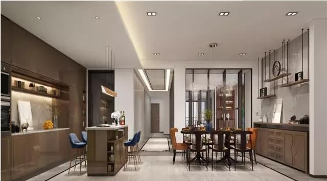 名门紫园别墅大宅300平新中式风格装修样板间---餐厅