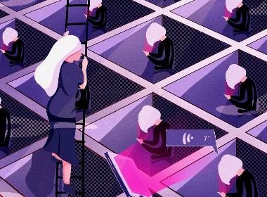 每日插画-现代人-逃离