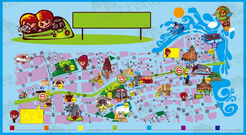 小小地下铁文化手绘地图—(南京东路—南京西路段)