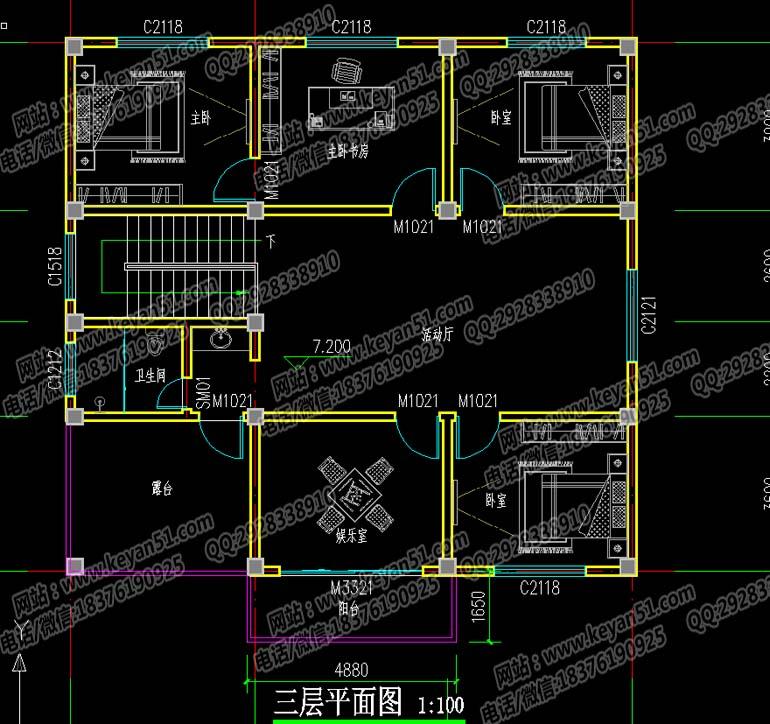 两房两厅农村三层房屋设计图及效果图