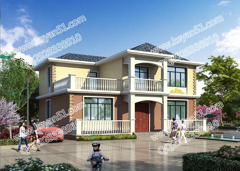 两房两厅二层带露台农村房屋设计图 农村小洋楼设计-图片