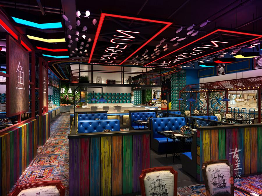 成都自助主题海鲜餐厅装修设计|成都特色工业风海鲜餐厅设计|成都专业