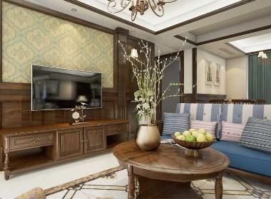 金龙紫东郡90平两室两厅美式乡村风格装修效果图