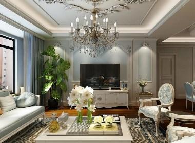 金沙湖高尔夫官邸装修,193平欧式与地中海混搭风格样板间设计