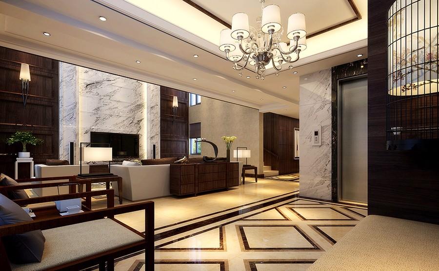 蓝城桃园春晓别墅大宅300平新中式风格装修样板间