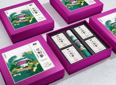 西安養生茶葉包裝設計-逅濃火焰蔘茶系列插畫包裝設計-厚啟設計