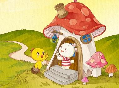 小黄鸡高登蘑菇房子壁纸(640X1136)