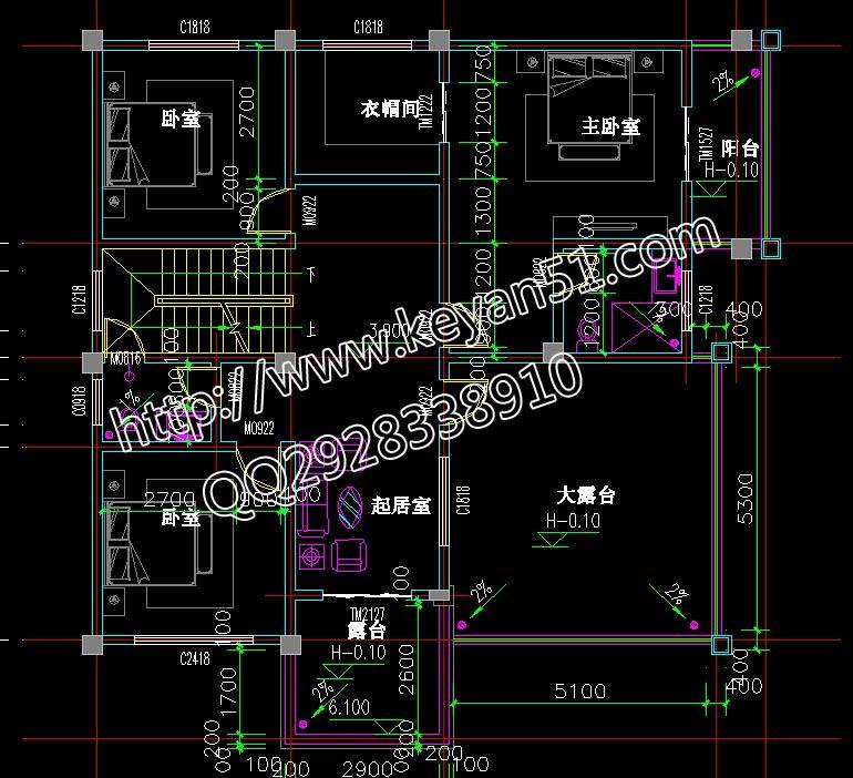 二层平面图 有三间卧室,一间起居室,带有两个露台.-30万三层框架