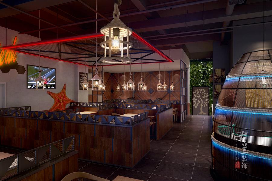 七福徕牛排海鲜自助餐厅--石嘴山餐厅装修设计公司--古兰装饰
