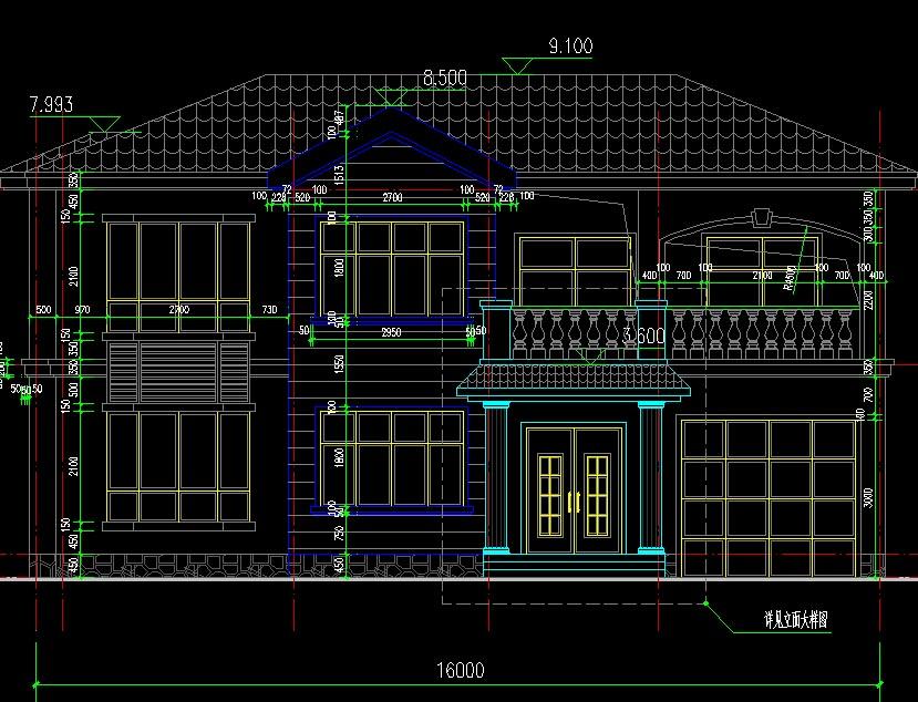 开间16米经济实用型农村二层小别墅设计图纸