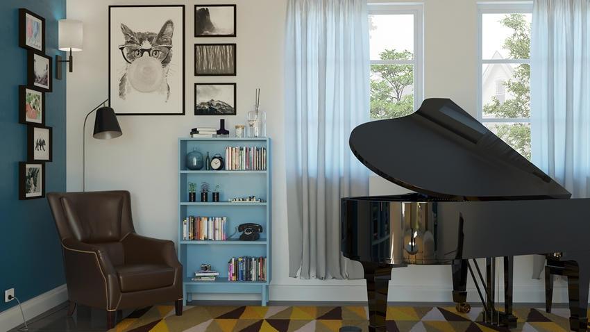 钢琴店室内装修手绘