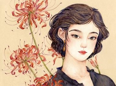 今日处暑(植物节气美人图)插画欣赏