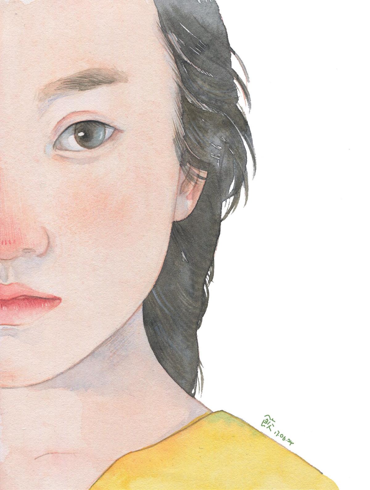 画画我的女朋友—水彩插画欣赏