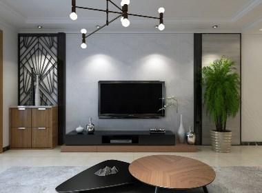 晒华普城130㎡新中式风2套,喜欢第2套设计方案电视墙,设计超赞