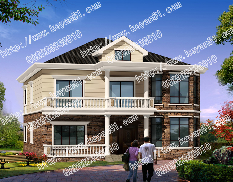 本户型为2017新设计的农村别墅建筑,外观颜色有两种设计方案,造型图片