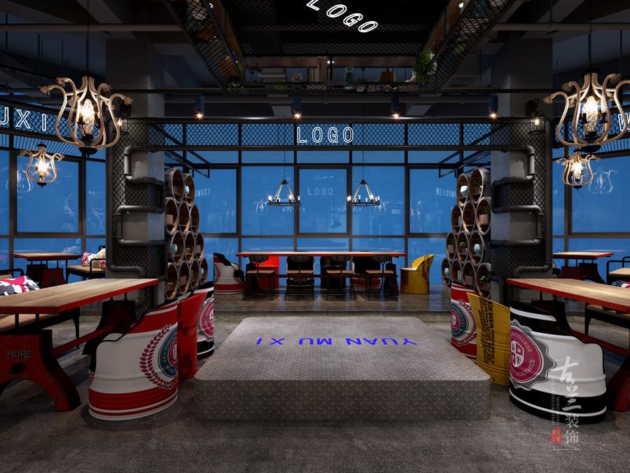 绵阳烤肉店装修设计合理规划,由于烤肉店的使用场地有限,基本构形呈长