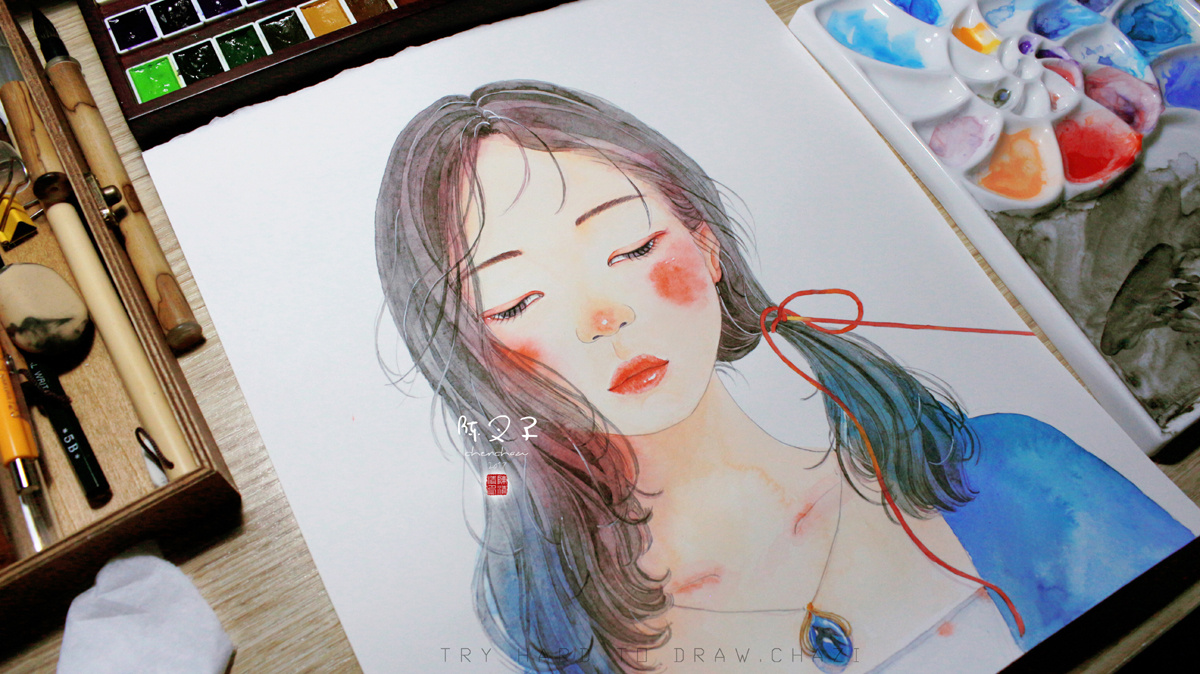 燕语如风水彩插画