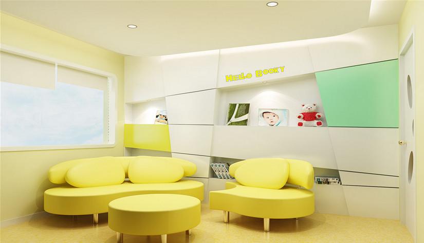 中卫早教中心设计玻璃背景窗,教室与走廊连接的墙壁,设计成玻璃背景