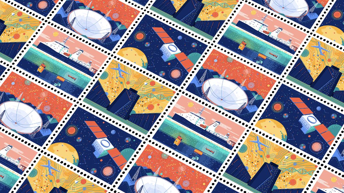 超酷邮票创意插画