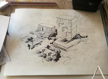 钢笔手绘城市鸟览图