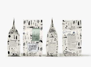 Mt. Comfort Coffee手绘风咖啡包装设计 | 摩尼视觉分享