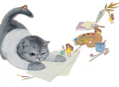 《猫先生和小小人》插画欣赏
